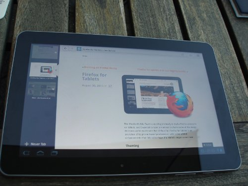 Samsung-Tablet mit darauf optimierter Firefox-Vorversion