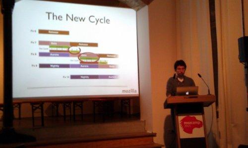 Kadir bei seinem Vortrag über SUMO und die neue Strategie beim Übersetzen mit dem schnellen Veröffentlichungszyklus von Firefox seit Version 5