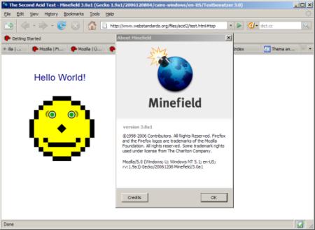 Bildschirmfoto von Minefield mit vollständig und richtig dargestelltem Acid2-Smiley