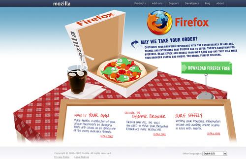 Bildschirmfoto eines Vorschlags für eine neue Firefox-Download-Seite