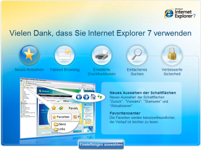 Bildschirmfoto der IE7-Einstiegs-Website