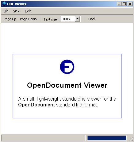 Screenshot des ODF Viewer Beta 2 der OpenDocument Fellowship-Gesellschaft