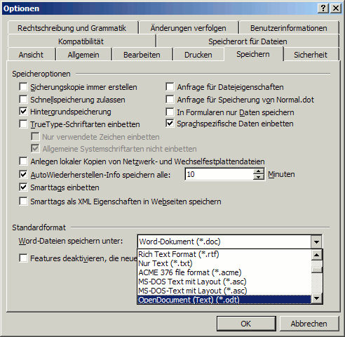 Sun ODF-Plugin: ODF als Standarddateiformat in MS Word einstellen