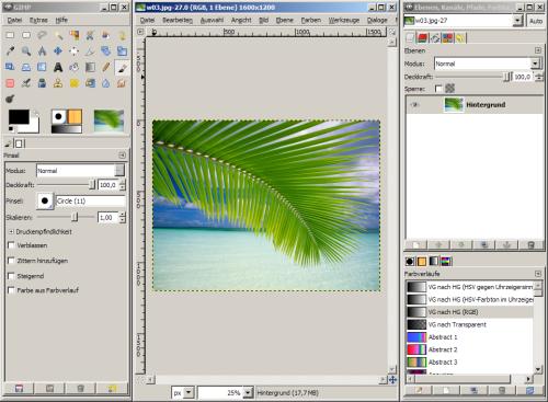 Bildschirmfoto von GIMP 2.4