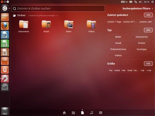 Beispiel für Unity auf der Live-CD von Ubuntu 12.04