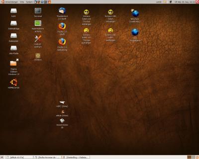 Bildschirmfoto von Ubuntu mit braunem Hintergrund