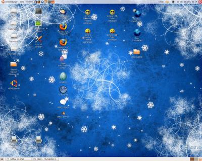 Bildschirmfoto von Ubuntu mit winterlichem Hintergrund