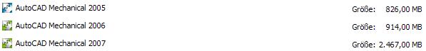 Bildschirmaufnahme mit der Größe von 3 AutoCAD-Installationen