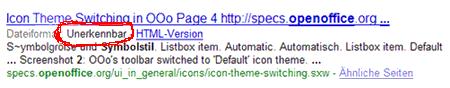 """Wort """"unerkennbar"""" in der Google-Suche"""