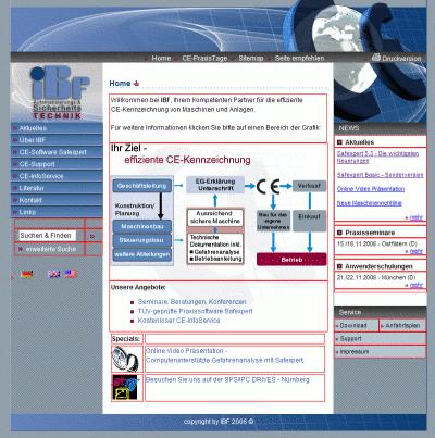 Website von IBF mit rot hervorgehobenen Tabellenzellen