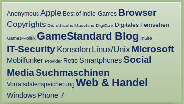WebStandard-Bildschirmfoto von der Stichwortwolke am 3. Juni 2012